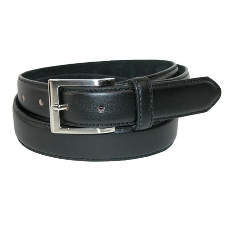 mens big leather basic dress belt with silver