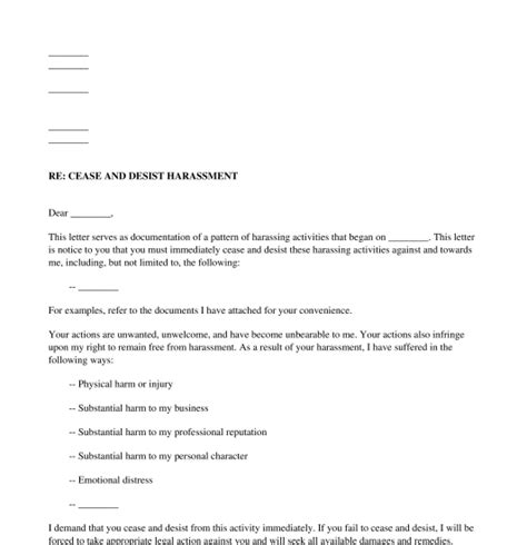 Harassment Cease And Desist Letter Free Template Cease And Desist Letter Harassment Template