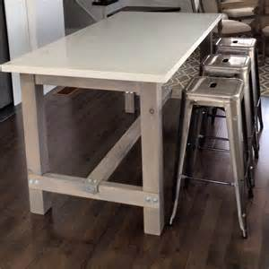 Quartz Bar Table Diy Harvest Table Kitchen Island With White Quartz Counter Cut Stained And Assembled The Wood
