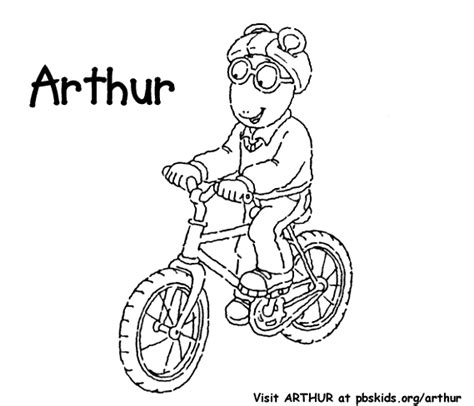 coloring activity pages arthur bicycling coloring page