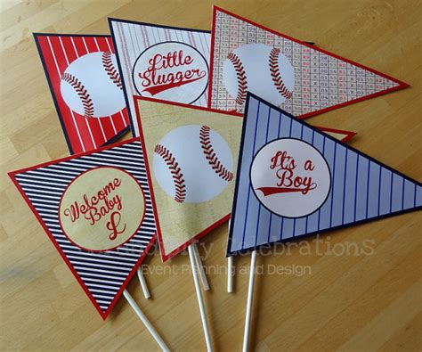 Vintage Baseball Baby Shower Decorations by Set Of 6 Personalized Flag Centerpieces Vintage Baseball