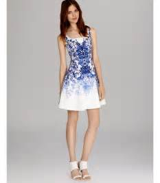 karen millen dress tile print in white blue multi lyst
