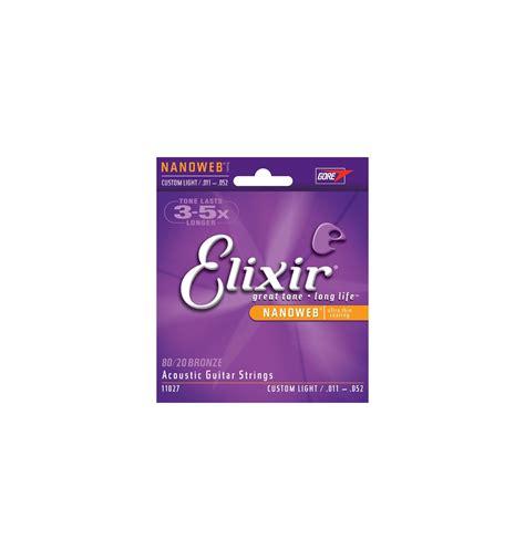 elixir nanoweb light acoustic strings acoustic strings set nanoweb bronze custom light 11 52