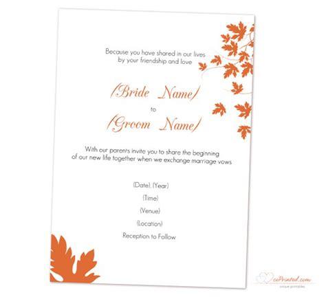 Fall Wedding Invitation Templates Fall Invitation Templates Free