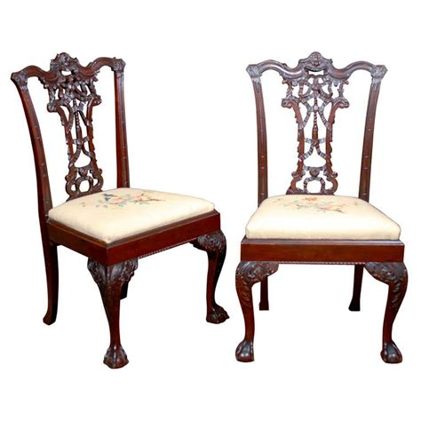 Georgian Style Furniture by Georgian Style Carved Mahogany Ribbon Back Dining Chairs At 1stdibs