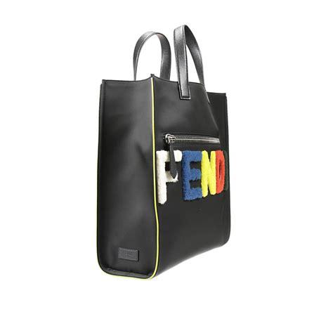 Fendi Shopper lyst fendi logo shopper tote in black for