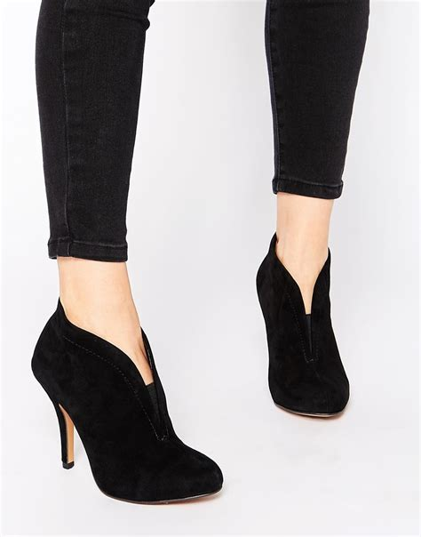aldo asicilia black suede heeled shoe boots in black lyst