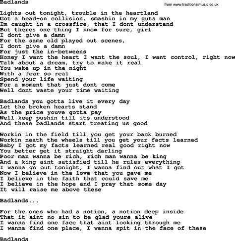 springsteen lyrics bruce springsteen song badlands lyrics