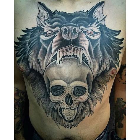 wolf skull tattoo wolf skull chest remington