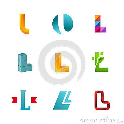 designer l set of letter l logo icons design template elements stock
