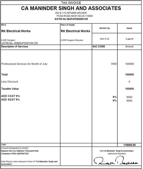 Credit Note Template Nz excel format of tax invoice in gst gst invoice format
