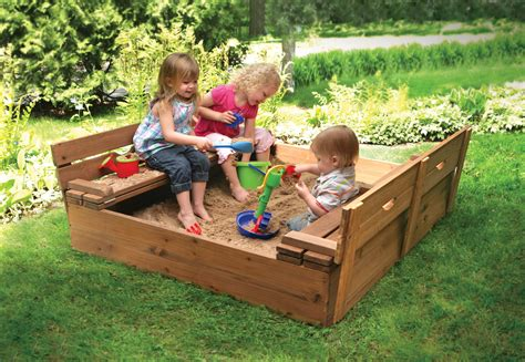 sandbox with benches badger basket covered convertible cedar sandbox with two