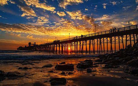 red sunset   oceanside pier san diego california