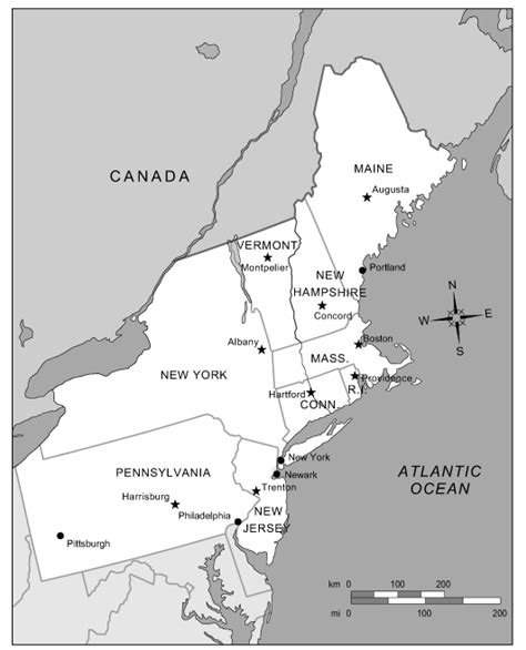 northeast usa map with capitals northeast capitals gallery