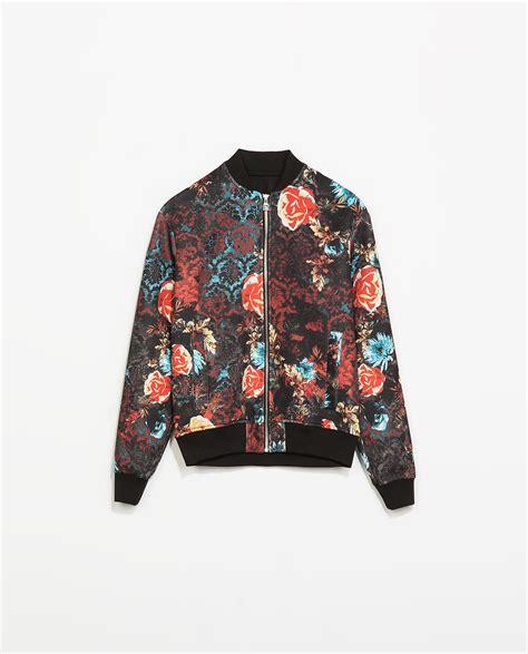 zara flower bomber jacket in black for lyst