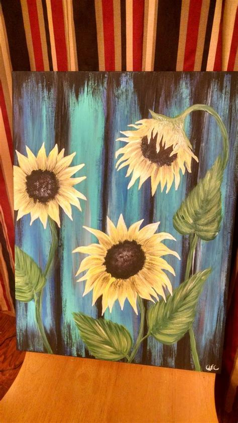 acrylic paint on wood ideas sunflower weathered wood acrylic on canvas my paintings