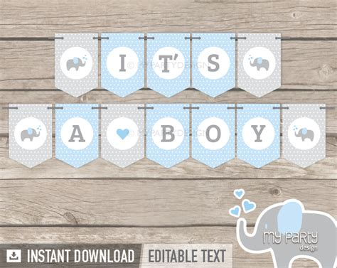 printable banners for baby shower elephant boy baby shower printable banner my party design