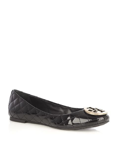burch flat shoes sale burch quilted flat shoes in black lyst