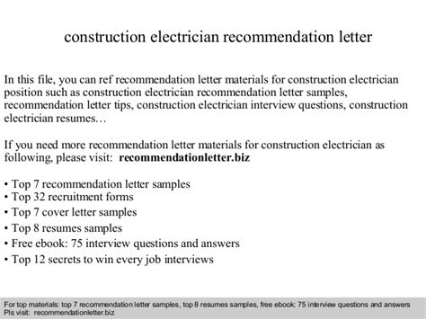 Letter Of Recommendation Questions construction electrician recommendation letter