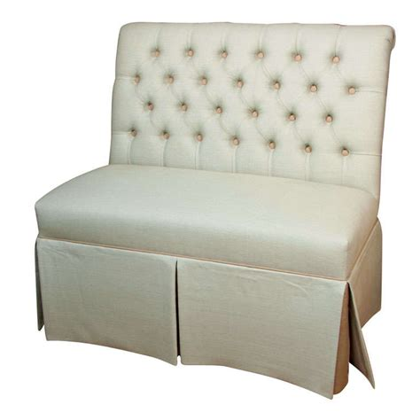 upholstered banquette bench reproduction tufted banquette upholstered in linen at 1stdibs