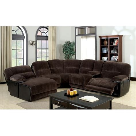 Reclining Sectional Sofas Microfiber Furniture Of America Cyclopean Brown Microfiber Sectional With Reclining Chaise By