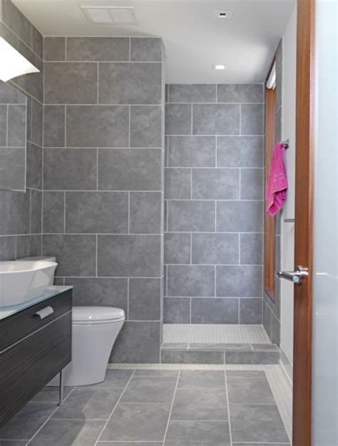 Light Grey Tiles Bathroom by Open Shower Shower Ideas Bathroom Design Shower Design Bathroom Remodeling Bathroom Ideas