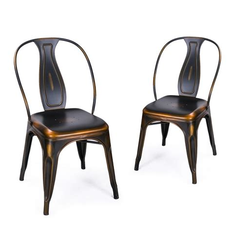 Copper Dining Chairs Adeco Antique Copper Metal Stacking Dining Chairs Set Of 2 Ch0155 3
