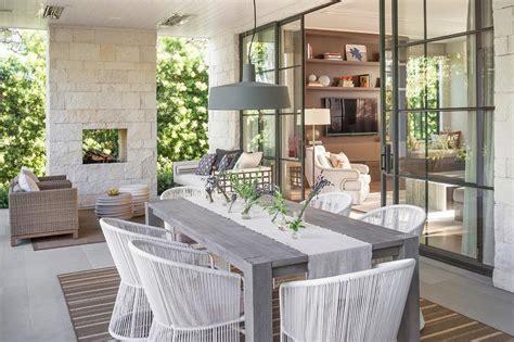 cream stone outdoor fireplace transitional deckpatio