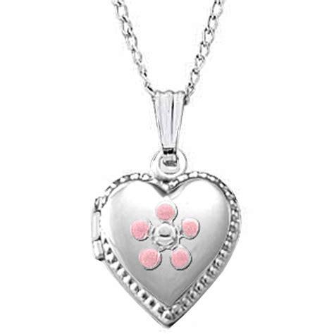 Children Heart Locket Necklace In Sterling Silver