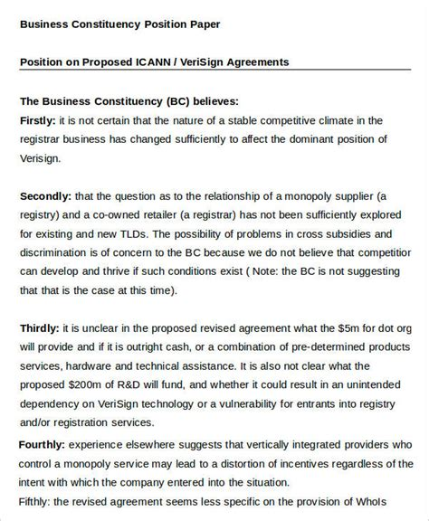 position paper template 11 business paper templates free sle exle format