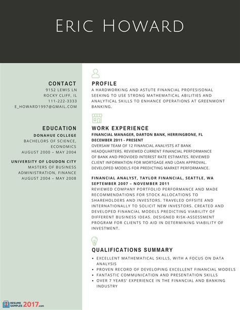 Finest Resume Samples for Experienced Finance