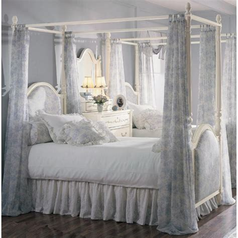 Bed Frame With Curtains Blue White Canopy Curtain With Floral Pattern Style Also Four Poster Bed And Corner Vanity