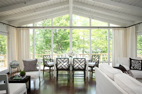 Vaulted Ceiling Curtain Ideas by Floor To Ceiling Windows Transitional Dining Room