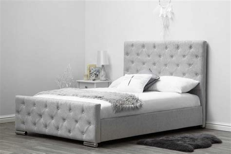 Silver King Bed Frame Buckingham Grey Fabric Upholstered Buttoned Headboard Bed King Price Beds