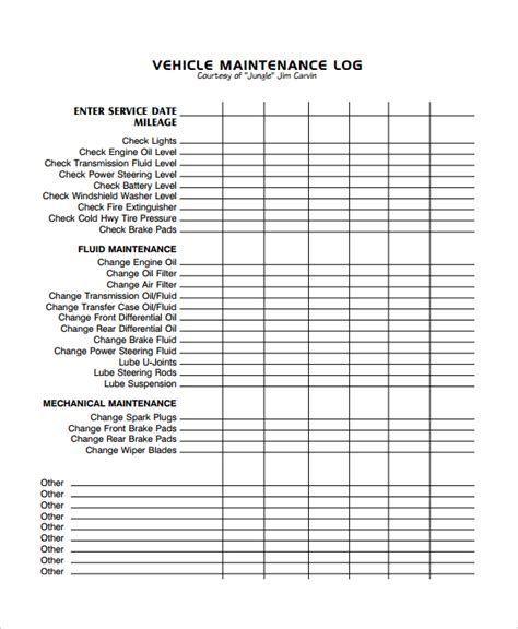 vehicle maintenance sheet template maintenance log anuvrat info