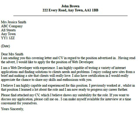 Vb Programmer Cover Letter by Cover Letter Web Developer Icover Org Uk