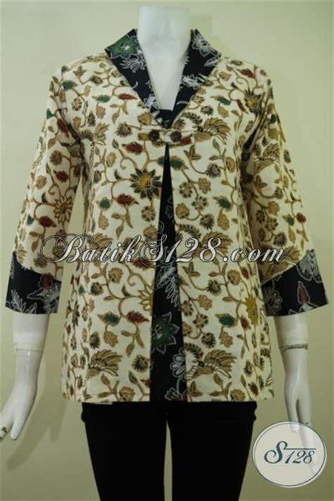 Desain Baju Batik Hitam | busana blus batik desain terbaru kombinasi warna cream dan