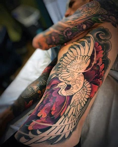 japanese crane tattoo designs  men bird ink ideas