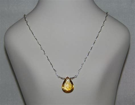 Handmade Pendant - aaa golden citrine faceted pear pendant and sterling