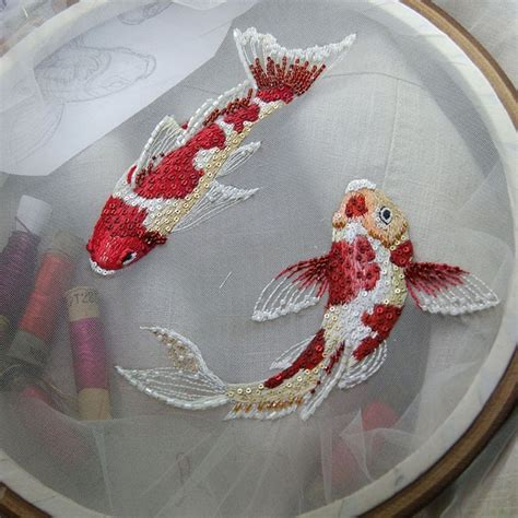 embroidery fish koi fish embroidery unconventional stitches broderie