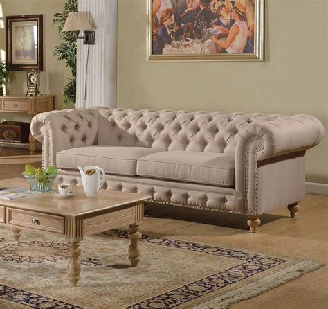Shantoria Collection Beige Linen Tufted Sofa W Nailhead Trim Tufted Nailhead Sofa
