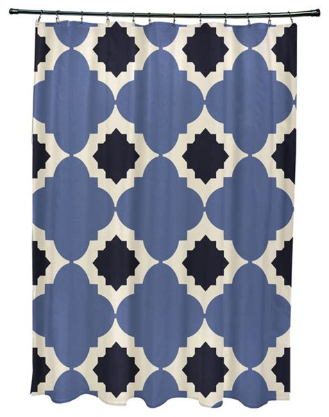 navy blue geometric curtains 71x74 quot medina geometric print shower curtain navy blue