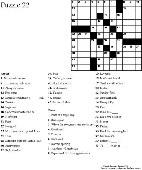 easy crossword puzzles esl summit language institute easy esl crossword puzzles book 3