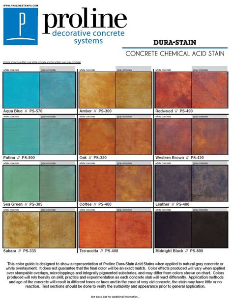 concrete acid stain color chart dura stain acid stain color chart offered by proline