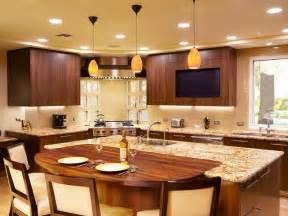 Kitchen island with built in table