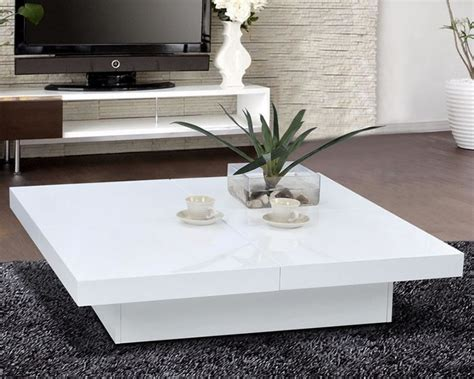 Glossy White Modern Storage Coffee Table Scene Live White Living Room Tables