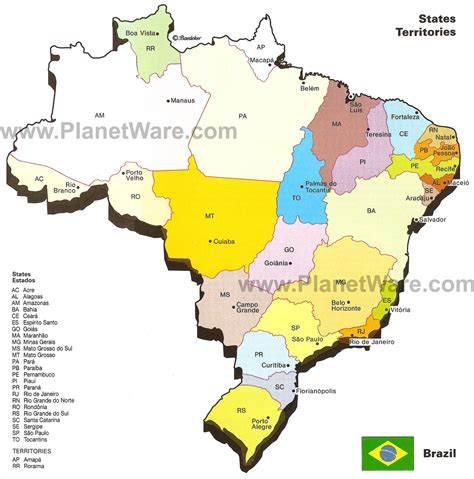 map of brazil with states de janeiro map of brazil