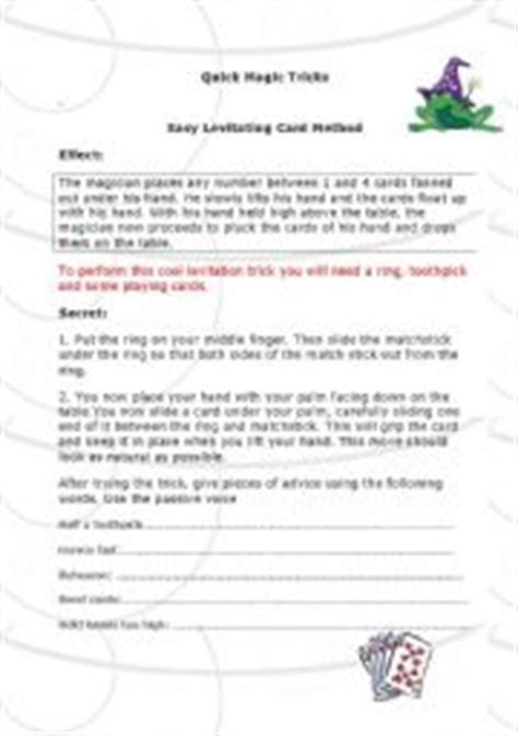 printable card trick instructions english teaching worksheets instructions