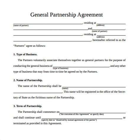Basic Partnership Agreement Template 12 Sle General Partnership Agreement Templates Sle Templates