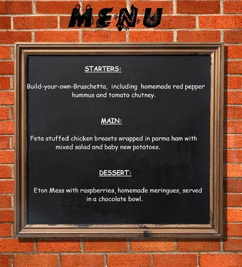 come dine with me menu template come dine with me part 2 of 4
